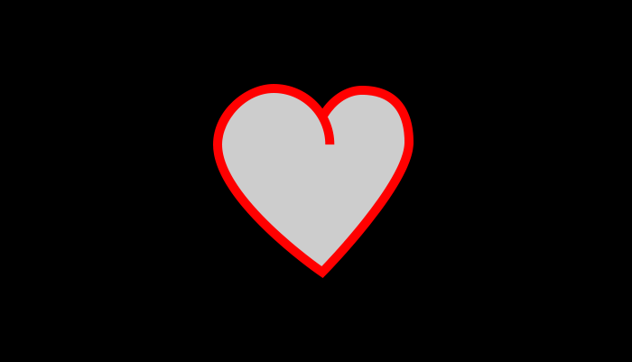 Red and grey heart on a black background