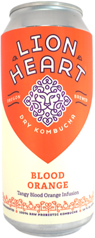 Lion Heart Kombucha Bliss flavor with ingredients