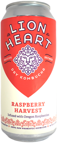 Lion Heart Kombucha Raspberry Harvest flavor with ingredients